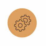 Gears icon for leaders thinking and making decisions with executive coaching
