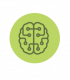 Green brain icon for decision making elearning for leaders