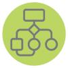 Flow chart icon - About Us, Core Values Success