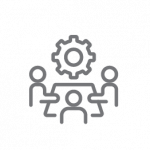 gear and people icon for leaders to organize and lead